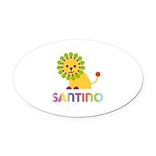 Santino Loves Lions Oval Car Magnet