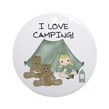 I Love Camping (Girl) Ornament (Round)