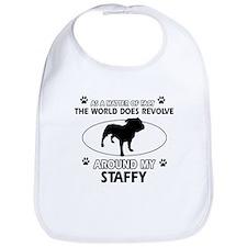 Staffy dog funny designs Bib