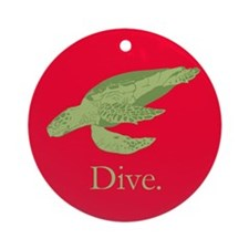 Diving Turtle Ornament (Round)