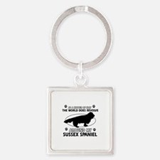 Sussex Spaniel dog funny designs Square Keychain