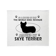 Skye Terrier dog funny designs Throw Blanket