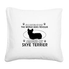 Skye Terrier dog funny designs Square Canvas Pillo