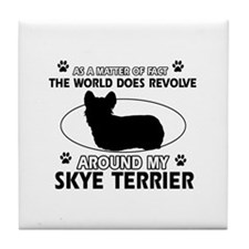 Skye Terrier dog funny designs Tile Coaster