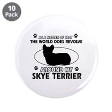 """Skye Terrier dog funny designs 3.5"""" Button (10 pac"""