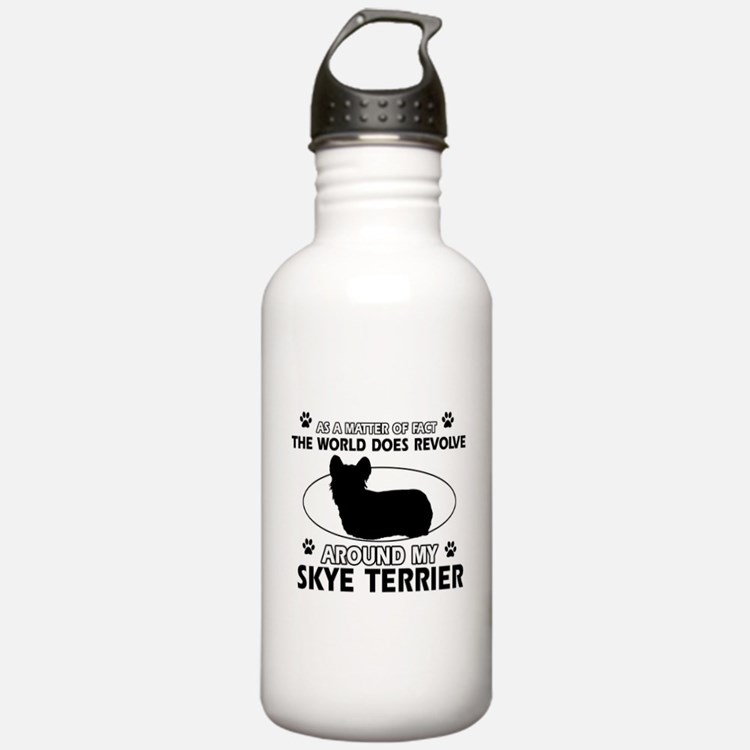 Skye Terrier dog funny designs Sports Water Bottle