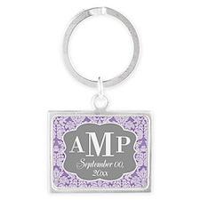 Lace Monogram Wedding - purple Keychains