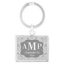 Lace Monogram Wedding - gray Keychains