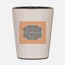 Chevrons for a Wedding - orange Shot Glass