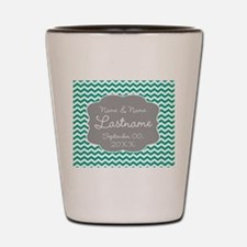 Chevrons for a Wedding - teal Shot Glass