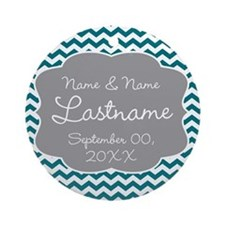 Wedding or Anniversary Chevrons Ornament (Round)
