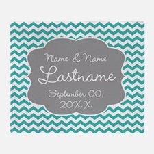 Wedding or Anniversary Chevrons teal Throw Blanket