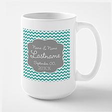 Wedding or Anniversary Chevrons teal Mug
