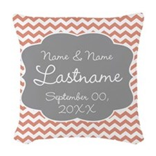 Wedding or Anniversary Chevrons coral Woven Throw