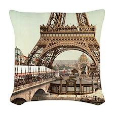 Vintage Eiffel Tower Woven Throw Pillow