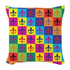 Pop Art Fleur De Lis Woven Throw Pillow