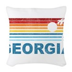 Retro Palm Tree Georgia Woven Throw Pillow