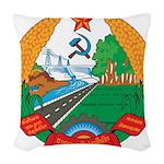 Laos Coat Of Arms Woven Throw Pillow