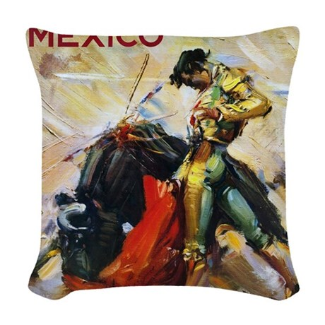 Vintage Bullfighting Woven Throw Pillow