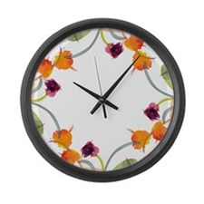 Atom Flowers Large Wall Clock