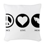 Peace Love Mexico Woven Throw Pillow