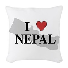 I Love Nepal Woven Throw Pillow