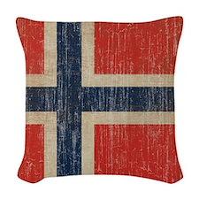 Vintage Norway Flag Woven Throw Pillow