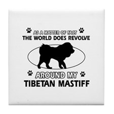 Tibetan Mastiff dog funny designs Tile Coaster