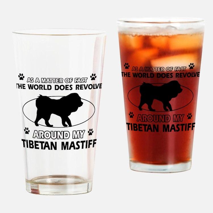 Tibetan Mastiff dog funny designs Drinking Glass