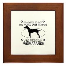 Weimaraner dog funny designs Framed Tile