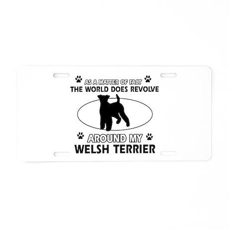 Welsh Terrier dog funny designs Aluminum License P