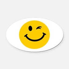 Winking smiley face Oval Car Magnet