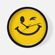 Winking smiley face Wall Clock