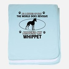 Whippet dog funny designs baby blanket
