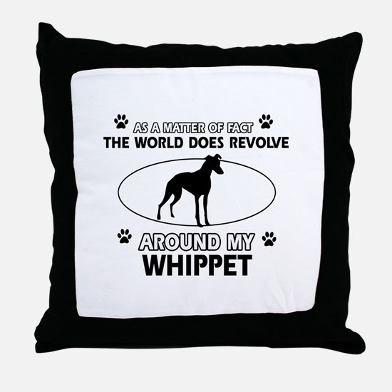 Whippet dog funny designs Throw Pillow
