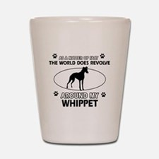 Whippet dog funny designs Shot Glass