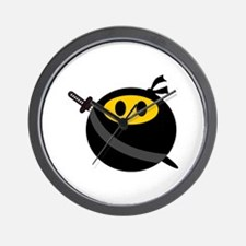 Ninja smiley face Wall Clock