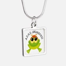 ADHD Awareness (Frog) Silver Square Necklace