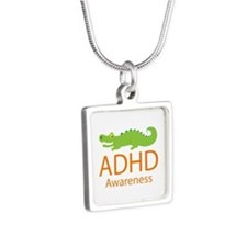 ADHD Awareness (Alligator) Silver Square Necklace