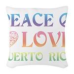 Peace Love Puerto Rico Woven Throw Pillow