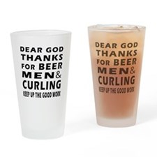 Beer Men and Curling Drinking Glass