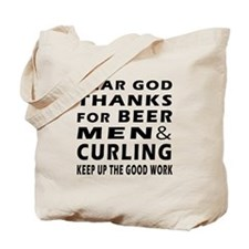 Beer Men and Curling Tote Bag