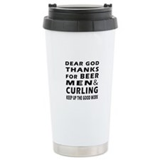 Beer Men and Curling Travel Mug