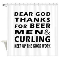 Beer Men and Curling Shower Curtain