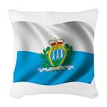 Wavy San Marino Flag Woven Throw Pillow
