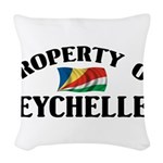 Property Of Seychelles Woven Throw Pillow