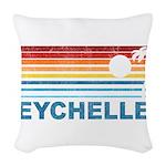 Retro Palm Tree Seychelles Woven Throw Pillow