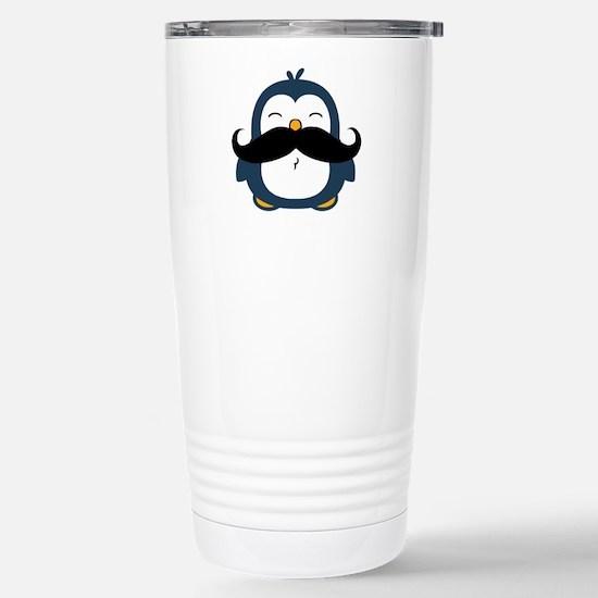Mustache Penguin Trend Stainless Steel Travel Mug