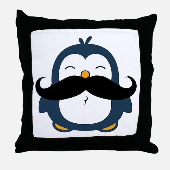 Mustache Penguin Trend Throw Pillow