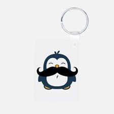 Mustache Penguin Trend Aluminum Photo Keychain